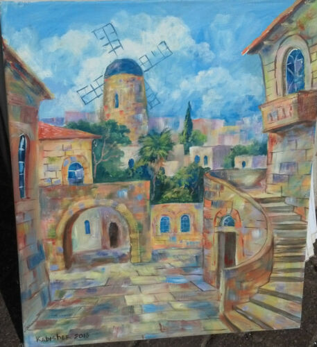 """Jerusalem Houses Old City /&Montefiore Windmill 24/"""" OIL PAINTING Israel Holy Land"""