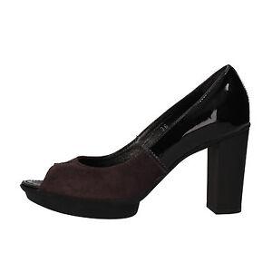 scarpe donna HOGAN 36 decolte viola vernice camoscio AF926B