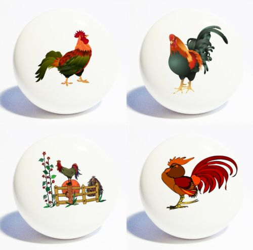 FOUR ROOSTERS WHITE DECOR CERAMIC KITCHEN  KNOBS DRAWER CABINET PULLS