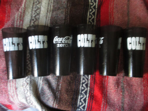 6 New COLTS Coke Coca Cola Zero Restaurant Black Plastic Tumblers Cups 24 oz