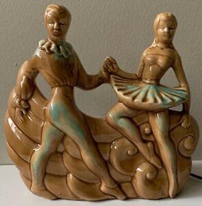 Nice-Vintage-50s-60s-Ballet-Dancers-Ceramic-TV-Lamp-Mid-Century-Modern-Kitsch