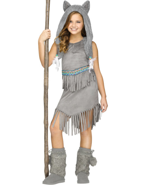 79648a1fe1a Gray Wolf Dancer Girls Native American Indian Halloween Costume