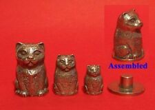 Cat Russian Doll Pewter Thimble Stacking Dolls Set of Collectible Thimbles NEW