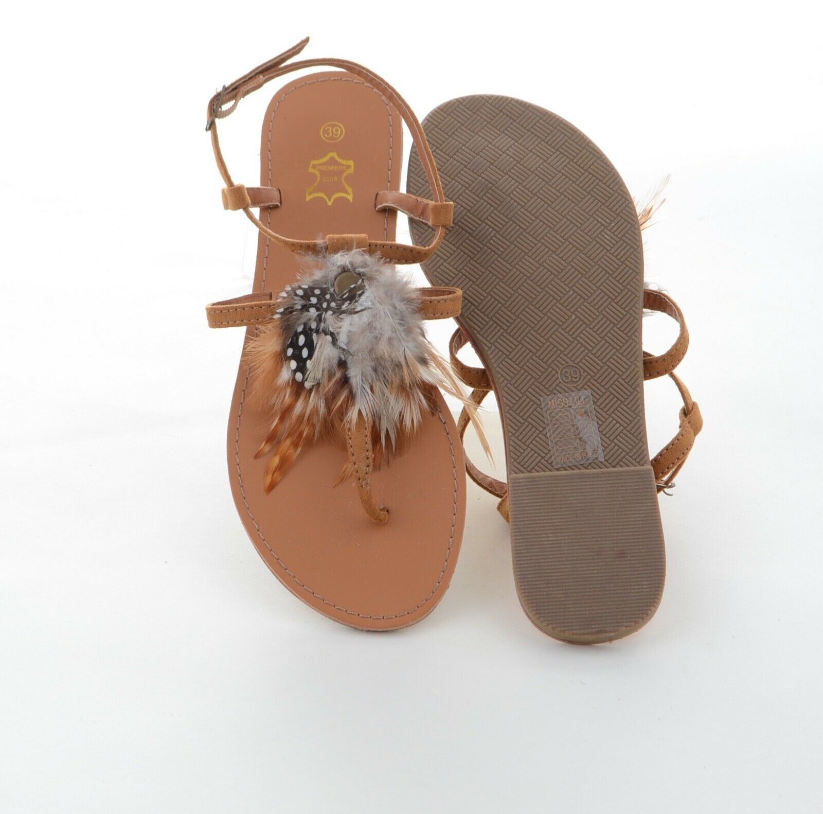 Miss Lili señora de diseño diseño diseño con tiras sandalias dedos de los pies talla 39 marrón de cuero nuevo 43d846