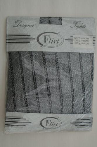 Flirt Nottingham Lace Designer Striped Tights Black with Silver Lurex One Size