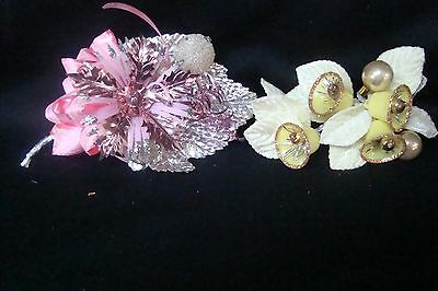 Vintage retro Pink and Yellow Christmas corsages lot of 2