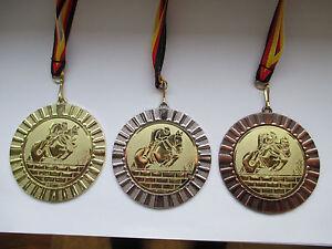 Reiten Pferde Pokal Kinder Medaillen mit Deutschland-Bändern Turnier mit Dressur
