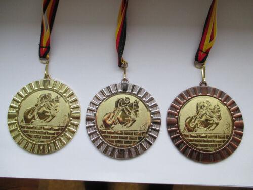 e107 3er Set Band/&Emblem Turnier Reiten Springen Pferd Pokal Kids Medaillen m