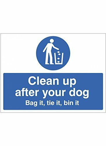 """Tie it Bin it/"""" Sign Caledonia Signs 15500E /""""Clean up After Your Dog Bag it mm"""