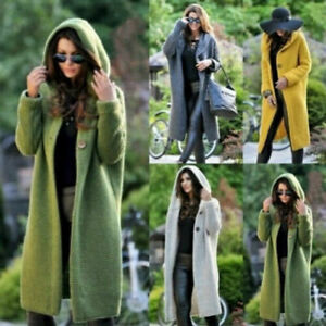 New-Women-039-s-Cashmere-Sweater-Cardigans-Knit-Ladies-Stretch-Hooded-Long-Coats