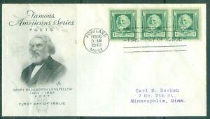 US-FDC-864-LONGFELLOW-CANCL-feb-16-1940-PORTLAND-MAINE-ADDR