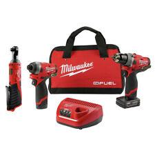 Milwaukee 2598-2457 M12 FUEL Hammer Drill & Impact Driver Kit w/ Ratchet New