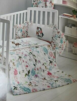 Cot Bed Bumper Baby Girl Disney Bambi, Baby Girl Pink And Grey Cot Bedding