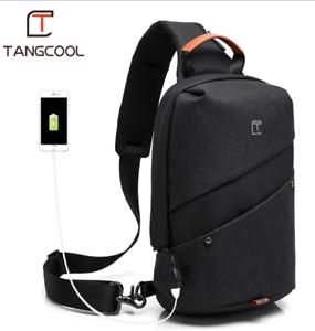 PJ Tangcool men's USB port waterproof one shoulder bag multi-purpose chest bag