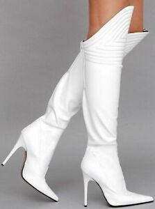 Sexy-Women-Pointy-Toe-Stilettos-Calf-Knee-High-Boots-Fashion-High-Heels-Shoes-UK