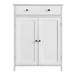Phenomenal Details About White Floor Cabinet Cupboard With 2 Doors 1 Drawer Bathroom Kitchen Storage Home Interior And Landscaping Staixmapetitesourisinfo