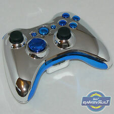 Xbox 360 Wireless Controller Official Custom Chrome Silver & Blue Fast Dispatch