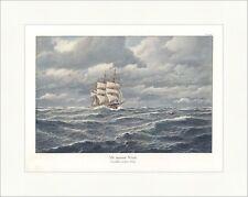 Mit raumem Winde Johs. Holst Segelschiff Seefahrt Wellen coloriert ED 0290