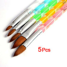5pcs Acrylic Nail Art UV Gel Carving Pen Brush Liquid Powder No.4 6 8 10 12 LW