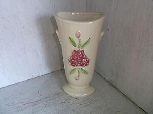"Shawnee 1257 Vase 7"" Pink Flowers Vintage Pottery"