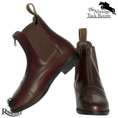 sizes J10-5 Rhinegold Childrens Boston Front Zip Leather Paddock Boots