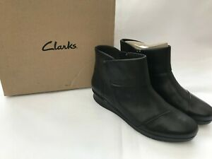 CLARKS-Women-s-Hope-Track-Black-Leather-Wide-Fit-Ankle-Boots-SIZE-UK-7-5-D