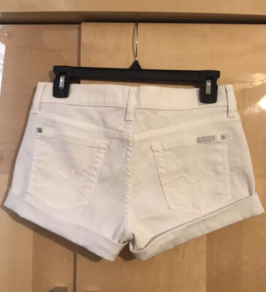 7 FOR ALL MANKIND WOMENS WHITE COTTON BLEND CUFFED JEAN SHORTS SZ 26