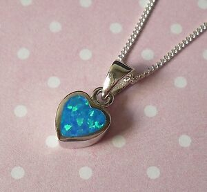 925 solid sterling silver created blue opal heart pendant necklace image is loading 925 solid sterling silver created blue opal heart aloadofball Choice Image