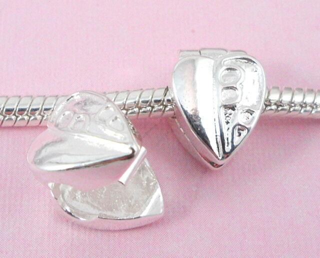 10pcs Silver /P Heart Clip Lock Stopper Beads Fit European Charm Bracelet K5