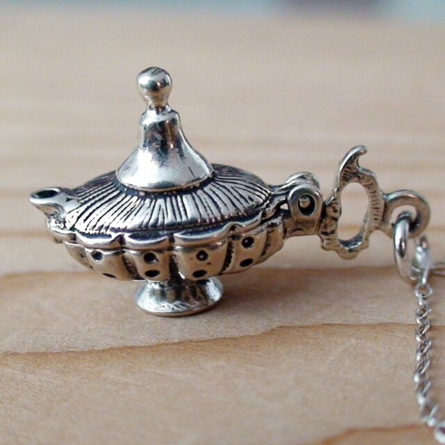 Genie Lamp Movable Charm Necklace - 925 Sterling Silver - 3 Wishes Luck NEW