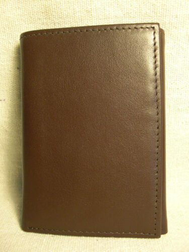 Non-Branded Mens Brown Genuine Leather Trifold Wallet w//Flip Down ID