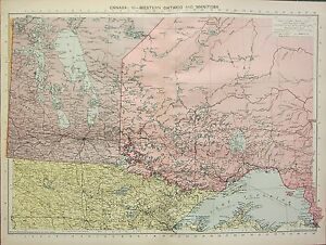 image is loading 1934 large map canada western ontario amp manitoba