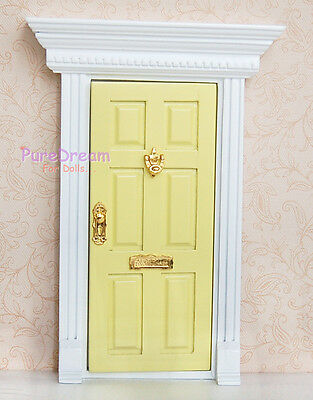 1:12 Dollhouse Miniature Wood Fairy Door Yellow Assembled with Metal Accessories