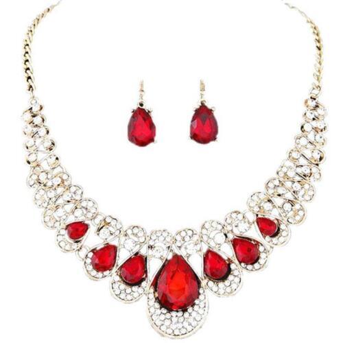 Leisure Flash Diamond Fashion Metal Red Wedding Hot Sale Women Jewelry Sets LR
