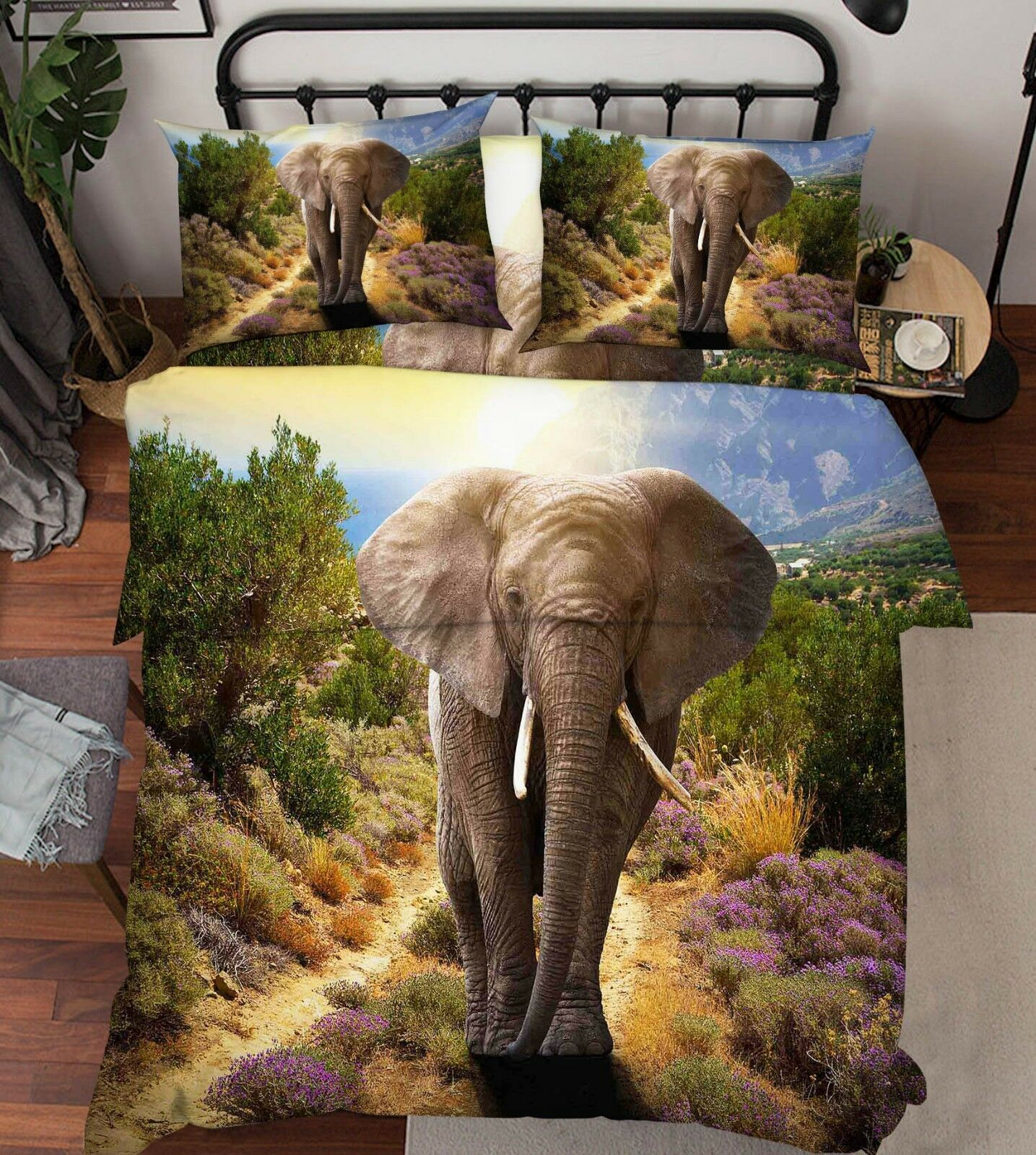 3D Elephant Grassland 1 Bett Pillowcases Quilt Duvet Startseite Set Single Königin König