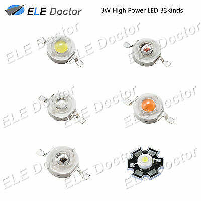 3W watts High Power SMD LED Chip Light Beads White Red Blue Yellow With PCB