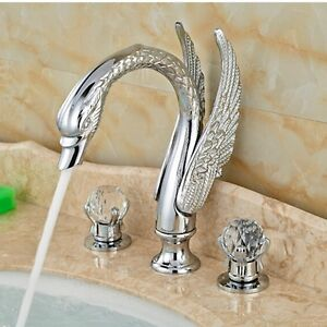 Chrome Brass Swan Bathroom Faucet Crystal Handles