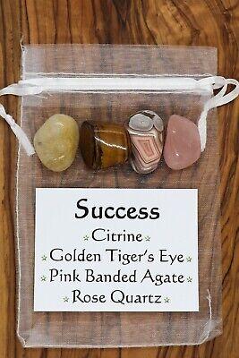 Success Crystal Gift Set Citrine Tiger/'s Eye Pink Banded Agate Rose Quartz