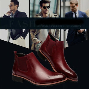 f417a9634122 Men s Shoes Men s Ankle Dress Boots Slip On Almond Round Toe Leather  Chelsea Luciano D-510