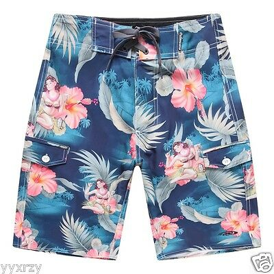 Mens Athletic Beach Shorts Polyester Animals Babies1 Pattern Beachwear with Pockets