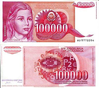 YUGOSLAVIA 100000 Dinara Banknote World Paper Money UNC Currency Pick p97 1989