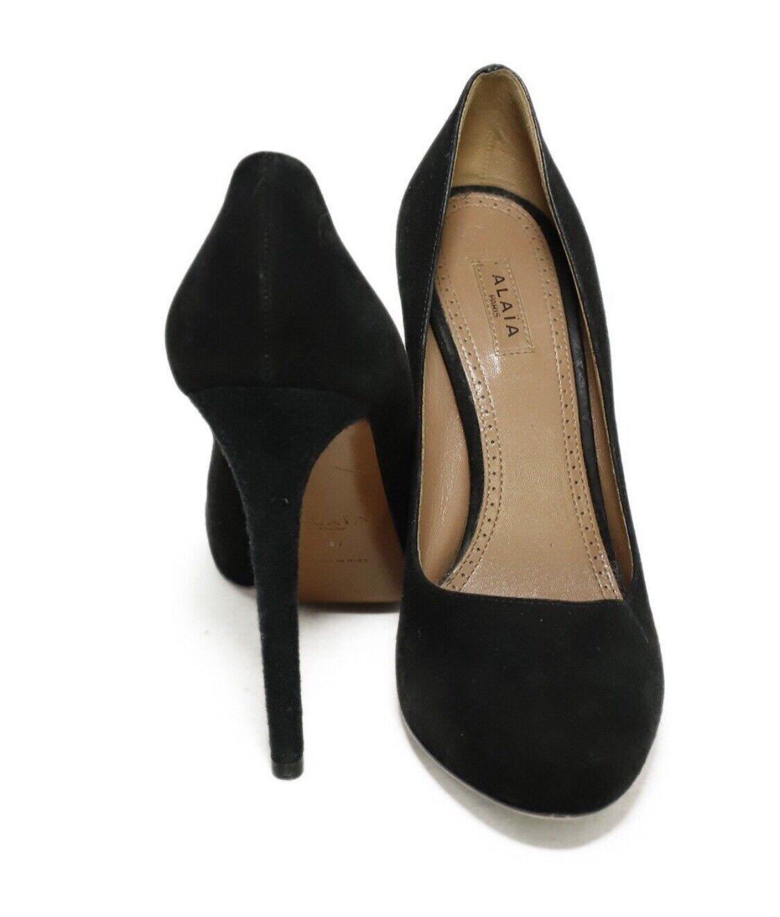 Azzedine Alaia BlackSuede Leather Heels Pumps Sz… - image 4