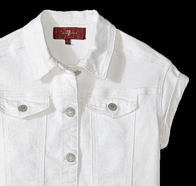 c8ce1c43c NWT 7 FOR ALL MANKIND Girls 7-14 White Denim Shortsleeve Jacket szs: S-M-L