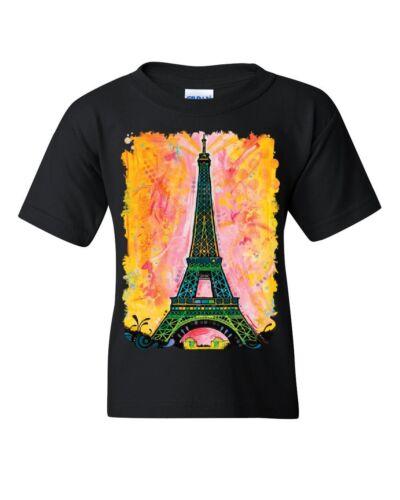 Eiffel Tower Youth T-Shirt Dean Russo Paris France Travel Europe EU Kids Tee