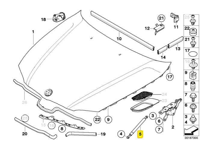 Febi bilstein 09505 dämmmatte amortiguamiento capó para Mercedes-Benz