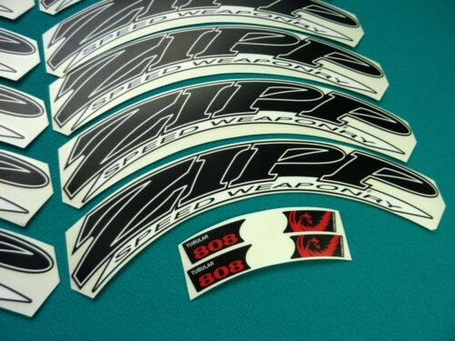 ZIPP 808 2012 STYLE BLACK /& WHITE REPLACEMENT RIM DECAL SET FOR 2 RIMS