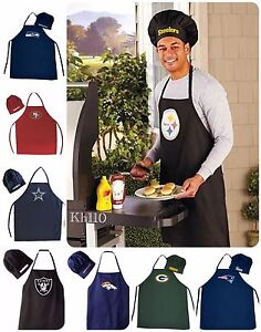 NFL-Team-Barbecue-Tailgating-Apron-and-Chef-039-s-Hat