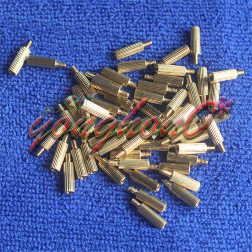 50PCS Male Female PCB Thread Brass Pillars Standoff Spacers Set M2x3mm+3mm NEW