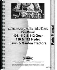 Minneapolis Moline 112 110 108 Lawn Tractor Parts Manual Catalog Town Country