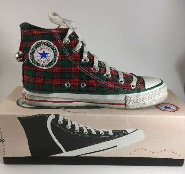 1980s Vintage Converse All Star CHRISTMAS Hi Top Sneakers Shoes Women's 7.5 USA